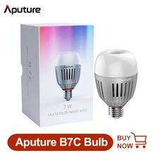 in stock! Aputure B7C 7W RGBWW LED Smart Bulb Photography lights 2000K 10000K Adjustable 0 100% Stepless Dimming App Control