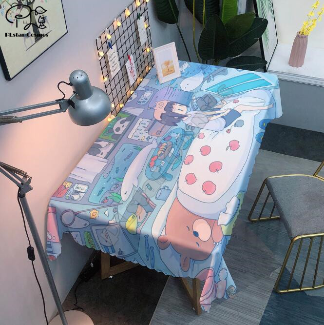 Tablecloth Cute cartoon girl 3D printed Square/Rectangular Dust-proof Table Cover For Party Home Decor TV Covers