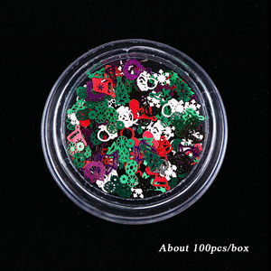 Image 5 - 1 kutu noel tırnak Glitter pul kırmızı yeşil beyaz kar metalik dilim ucu tırnak 3D pullu Rhinestone alaşım süslemeleri BE1046