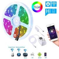 WiFi LED Strip Lights Kit Smart Lamp Voice Phone APP Controlled Light Strip RGB Dimmable 5050 LED Tape Lights Alexa Google Home