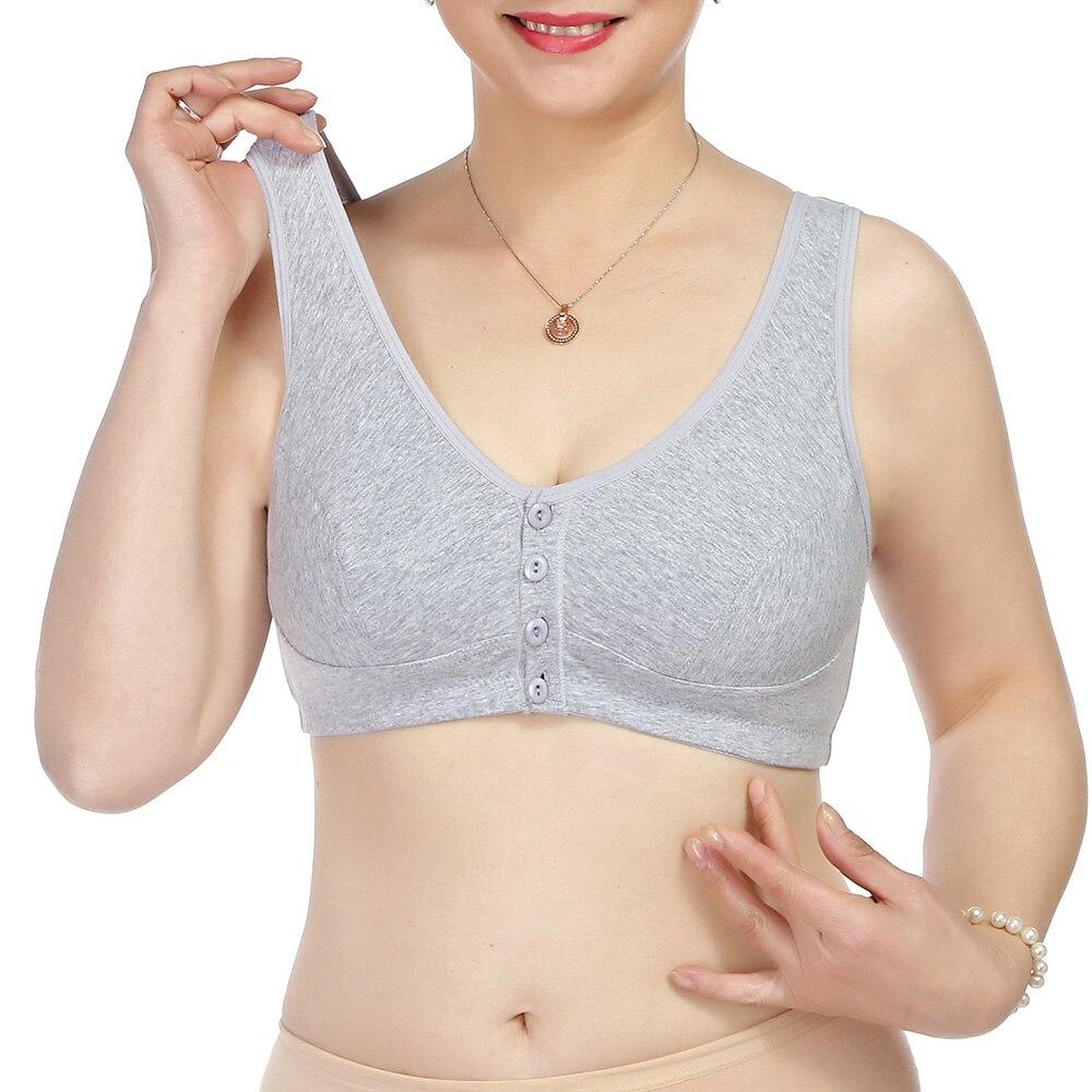 Womens Bra Front Closure Wireless Cotton Brassiere Sexy Underwear Vest Lingerie Bralette Tops A B C Cup 2