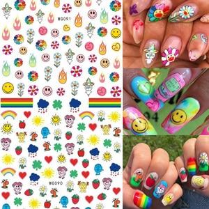 Наклейки для ногтей с абстрактными линиями, геометрическим дизайном, клейкие украшения для ногтевого дизайна, «сделай сам», Подсолнухи, сма...