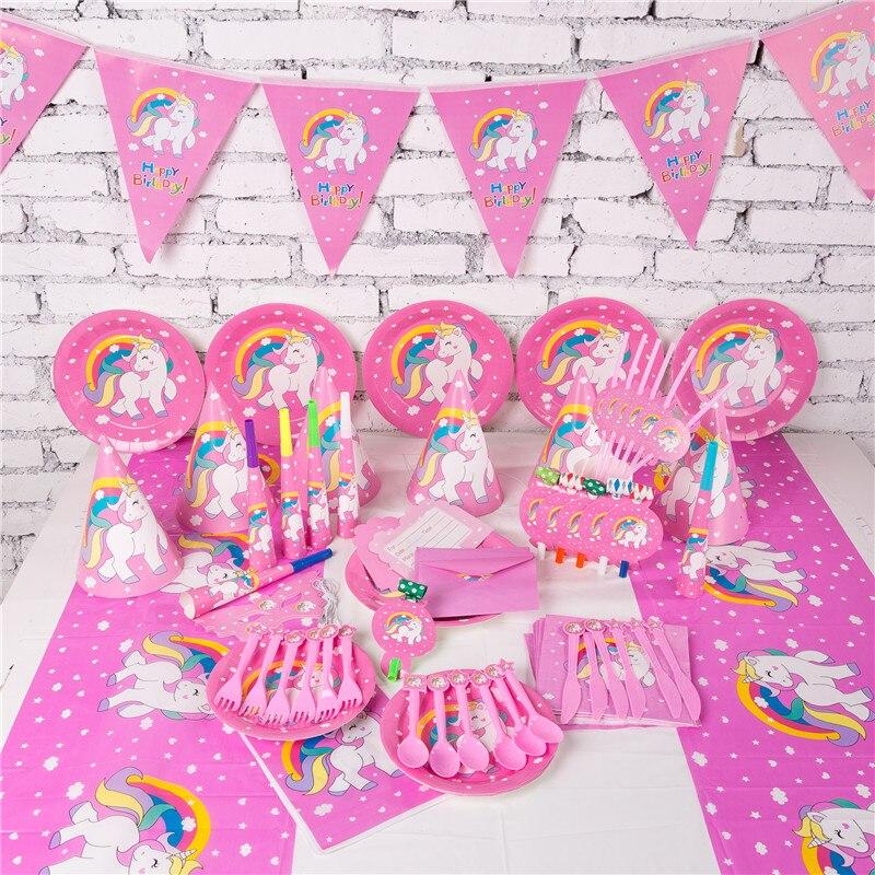 Licorne fête décoration licorne vaisselle jetable licorne décor fournitures fête d'anniversaire décoration enfants licorne fête faveurs