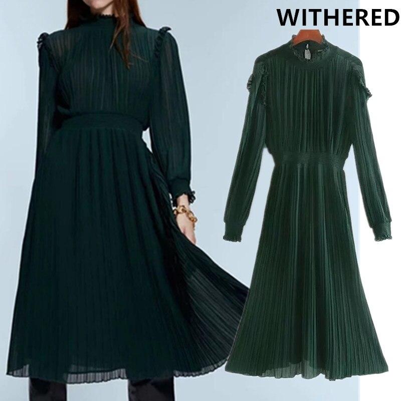 Withered 2019 England Elegant Office Lady Pleated Party Midi Dress Women Vestidos De Fiesta De Noche Vestidos Maxi Dress Blazers