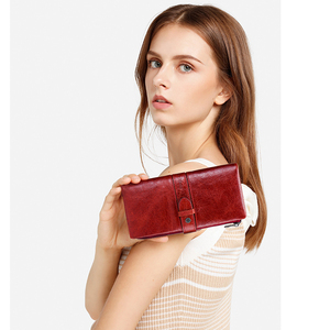 Image 5 - Contacts Red Fashion Wallet Clutch Women 100% Genuine Leather Purse Ladies Wallets HasP Card Hold Cartera Mujer Portfel Damski