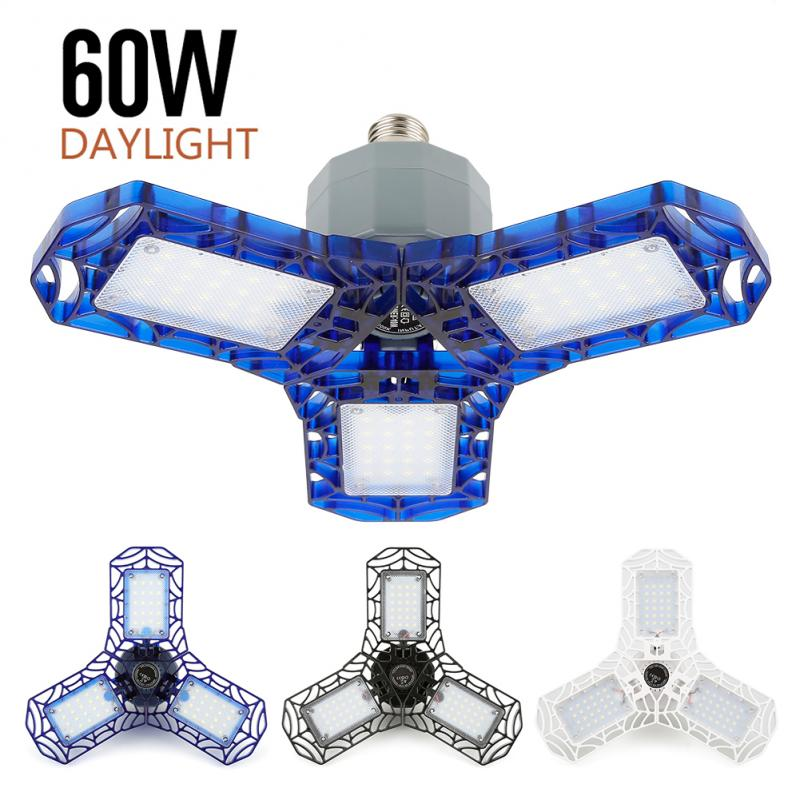 360 Degrees 60W Triple Garage Light Glow Deformable Light Indoor Garage Light Premium 6000 Lumens LED Light Workshop Lamp LED