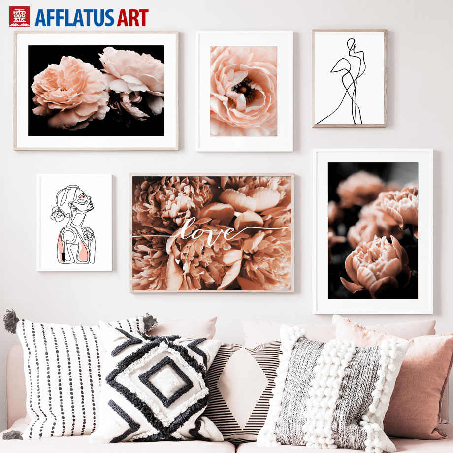 Rose Flower Abstract Figure Landscape Wall Art Canvas Painting Nordic Posters And Prints Wall Pictures For Living Room Decor