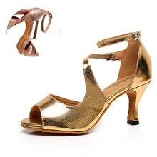 Женская обувь для латинских танцев; Золотистая танцевальная