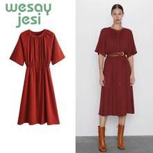 Dress women vestidos england urban simple red elegant style short-sleeve O-neck de fiesta noche maxi dress