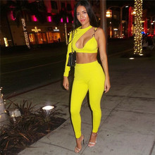 Yellow White Two Piece Set Sexy Night Club Outfits for Women One Shoulder Cut Out Asymmetric Crop Top Pencil Pants Suit Female cut out crop top