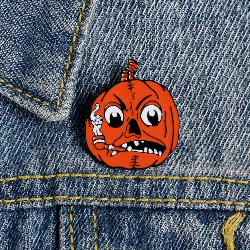 Marah Mr Labu Enamel Pin Halloween Lencana Merokok Labu Rakasa Bros Kerah Pin Kustom Pin Festival Hadiah untuk Wanita Pria
