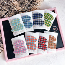 Children Girl Kids Hair clips Set Korean Japan Fabric Plaid Cute Fall Winter BB Hairpins Head wear Accessories-SWC5-W5 цена и фото
