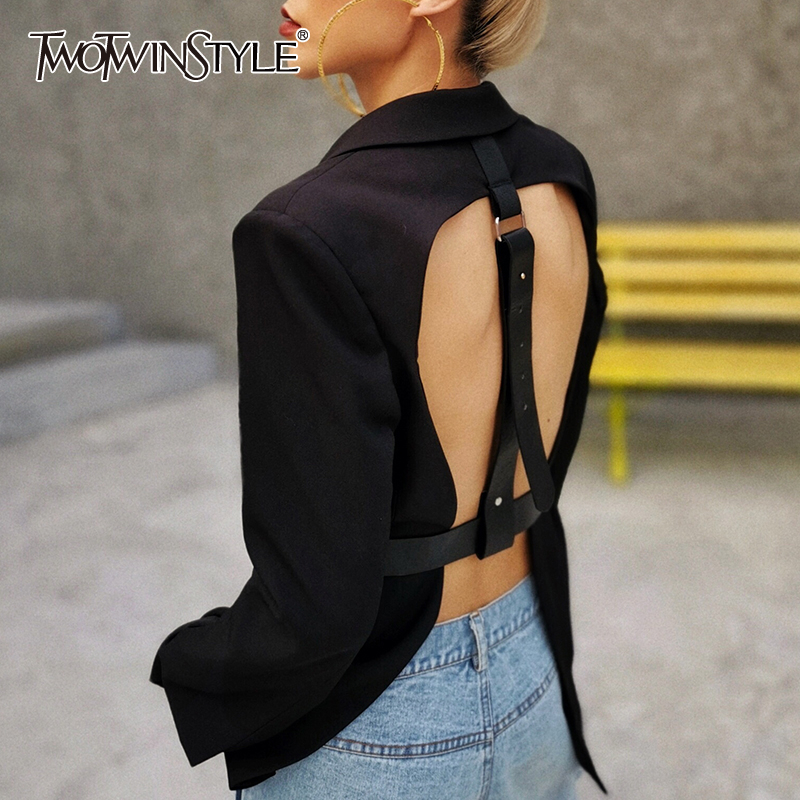TWOTWINSTYLE Casual Patchwork Women Blazer Notched Long Sleeve High Waist Sexy Backless Blazers For Female Fashion Clothing New