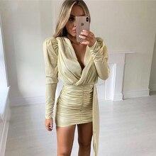 Ceremokiss Glitter Party Dress Women Long Sleeve Autumn Gold Sparkle Bodycon Ruc