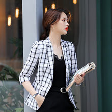Wear WOMEN'S Dress Half-sleeve Shirt Small Suit 2019 Spring And Summer-Plaid Pattern Work Clothes Ol Fashion Casual WOMEN'S Dres(China)