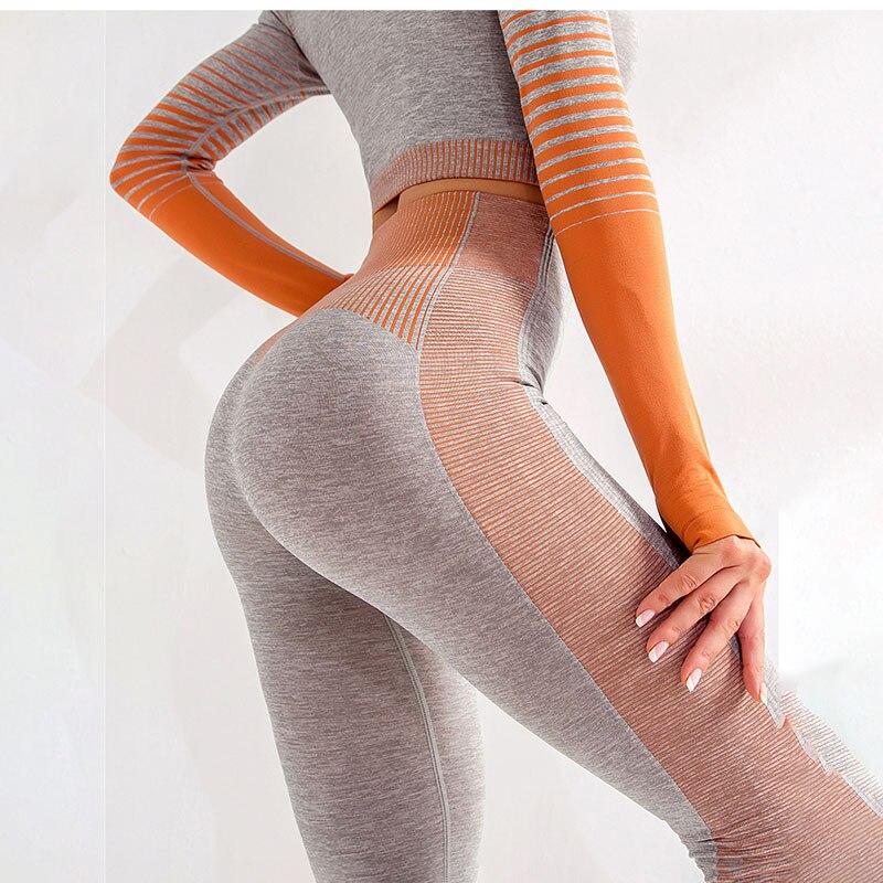 NORMOV Knitting Fitness Women Leggings High Waist Push Up Patchwork Ankle Length Leggings Gradient Nylon Calzas Mujer Leggins 3