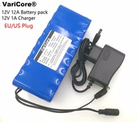 VariCore 12V 12000mAh battery pack 18650 LiIon Camera battery with PCB Protection and 12.6V 1A Charger EU / US plug