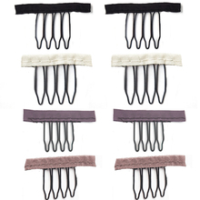 DIANQI 20pcs 4 Teeth Black Clips For Hair Extensions Steel Fork Wig Accessories Stainless Steel Wig Combs For Wig Caps