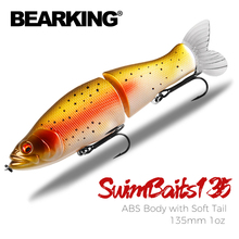 BEARKING Top Fishing Lures 135mm 1oz Jointed minnow Wobblers ABS Body with Soft