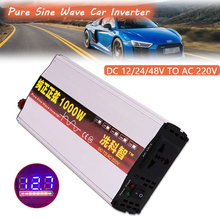 цена на Car Inverter 600W/1000W DC 12V/24V/48V to AC 220V Pure Sine Wave LCD Display Voltage Transformer Convert Car Power Inverter