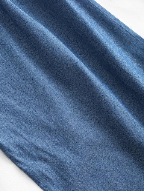 ZAFUL Chambray Belted Tube Jumpsuit Women Strapless Sleeveless Solid Cotton Straight Office Pants Wide Leg Pants Long Bottom 3