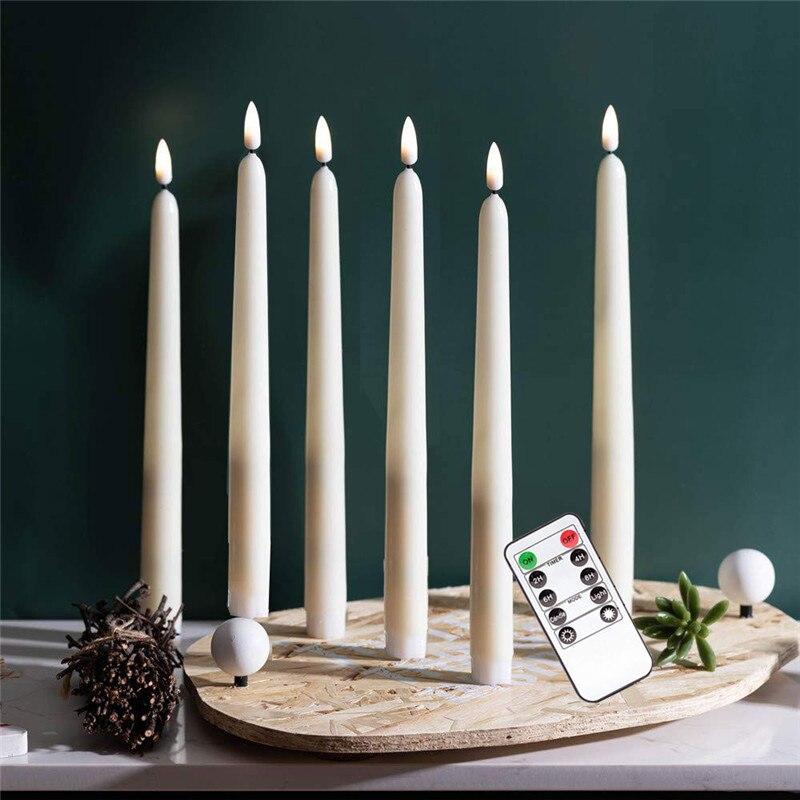 Paquete de 6 candelabros cónicos con batería blanca o remota, velas electrónicas con temporizador de ventana de Navidad para eventos de boda Candelero hueco metálico artesanía vela luz té decoración del hogar candelero marroquí candelero decoración de boda