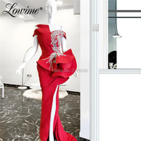 Crystals Beaded Couture Evening Dress Red Mermaid Prom Dresses One Shoulder 2019 High Split Sexy Party Gowns Robe De Soiree