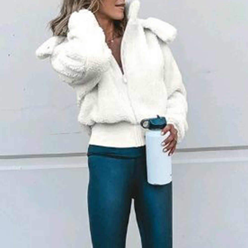 Frauen Herbst Winter Weiß Weiche Plüsch Kurze Kapuze Jacke Weibliche Beiläufige Lose Warme Chic Oberbekleidung Strickjacke Mantel Plus Größe XL