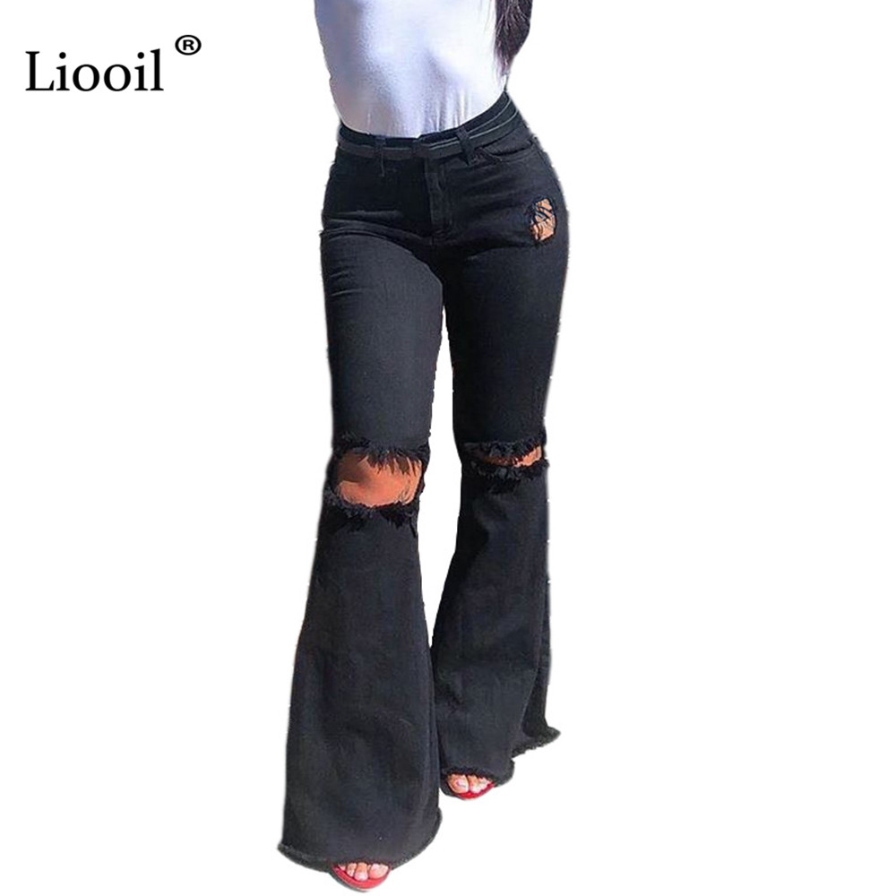 Liooil Black Sexy High Waisted Jeans Skinny 2020 Streetwear Ripped Jeans Women Clothing Bell Bottom Skinny Denim Jeans Womens