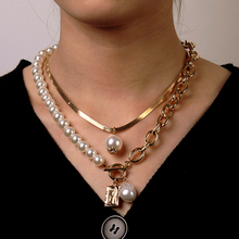 Vintage Pearl Alloy Portrait Pendant Necklace for Women Multilayer Snake Chain Collar Choker Necklace Boho Fashion Jewelry Gift