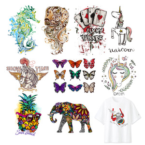 Iron-on Clothes Patches Animal Butterfly Elephant Wolf Crocodile Heat Transfers Vinyl Patch Boy Girl DIY Clothing Sticker F(China)