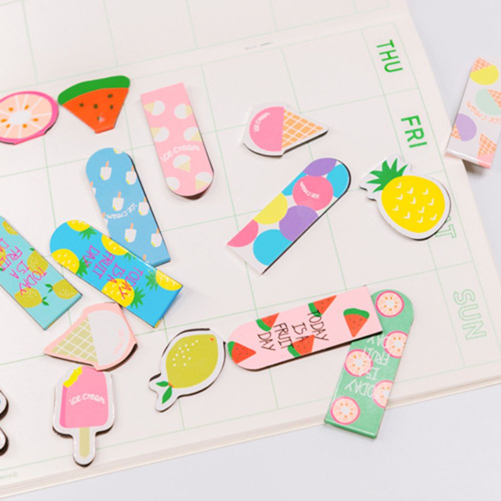 2PCS/Pack Creative Fruit Ice Cream Series Magnetic Bookmarks Cute Korean Magnetic Bookmarks Stationery School Office Supply