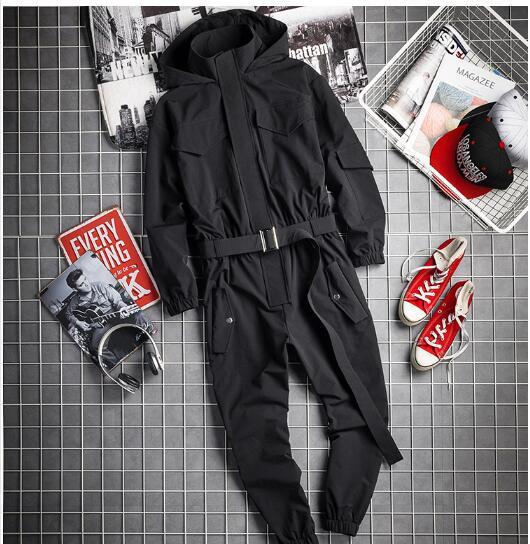 2021 spring and autumn new hip-hop jumpsuits street trendy men's one-piece suit men's trendy tooling jumpsuit