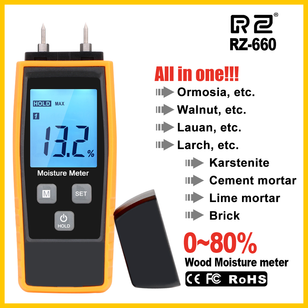 RZ Moisture Meter Digital Wood Moisture Meter 0-80% Wood Working Tester Measuring Tool RZ660