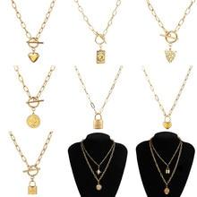 Модное женское ожерелье из нержавеющей стали для женщин, винтажные многослойные ожерелья, длинное ожерелье с кулоном в виде монеты, ожерель...