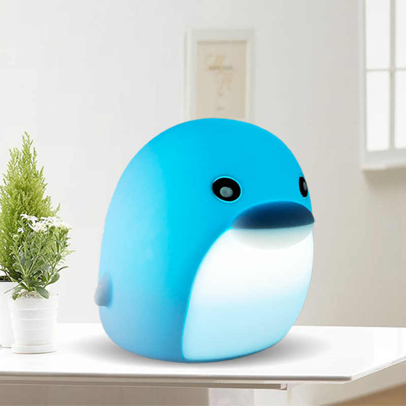 Multicolor Dolphin Soft Silicone Touch Pat Light USB charging Animal Night Baby Nursery Bedroom Home Decor LED
