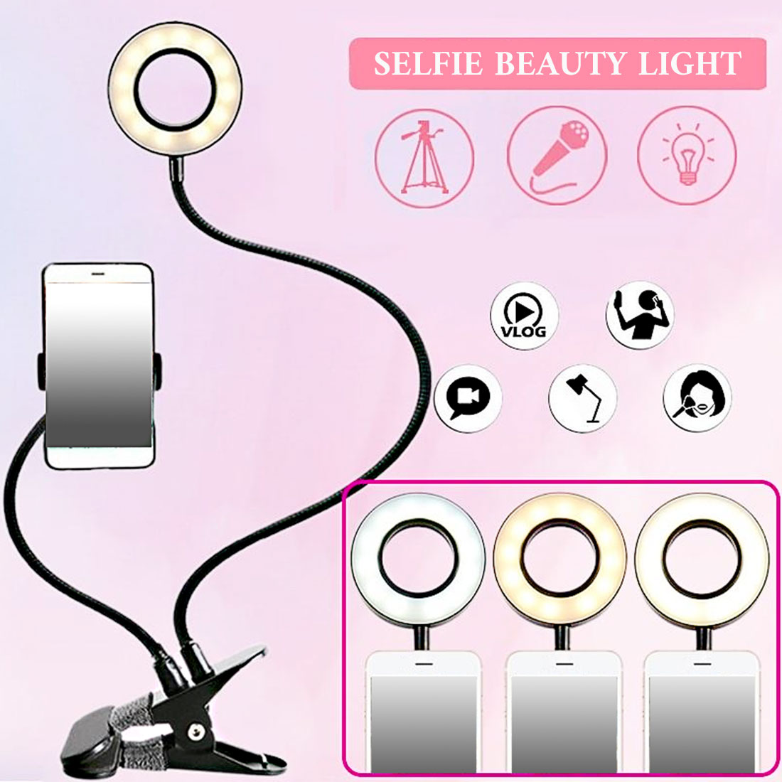 SALE Photo Studio Selfie LED Ring Light with Cell Phone  Holder for Youtube Live Stream Makeup Camera Lamp for iPhone Android