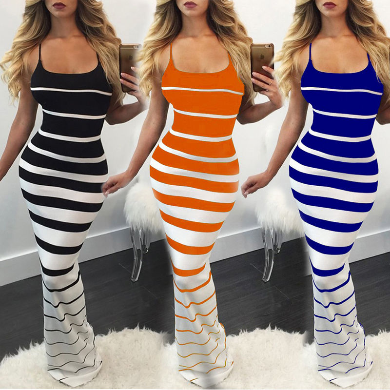 Meihuida Summer <font><b>Sexy</b></font> Sleeveless Striped <font><b>Dresses</b></font> Evening Party <font><b>Elegant</b></font> Skinny <font><b>Long</b></font> Maxi <font><b>Dress</b></font> Sundress image