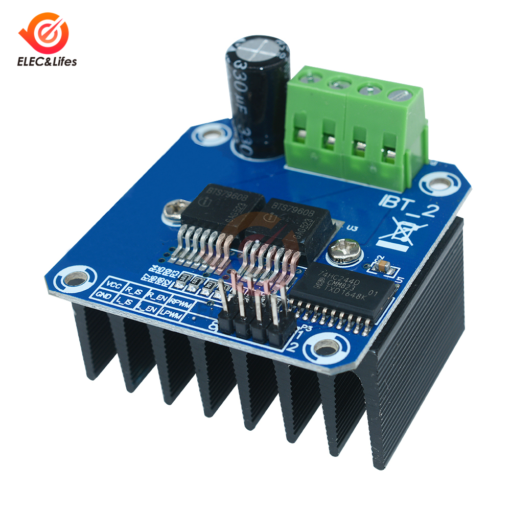 Double BTS7960 B BTS7960B 43A H-Bridge high power Motor Driver Module Board For Arduino MCU Smart Car Robot Current diagnostic