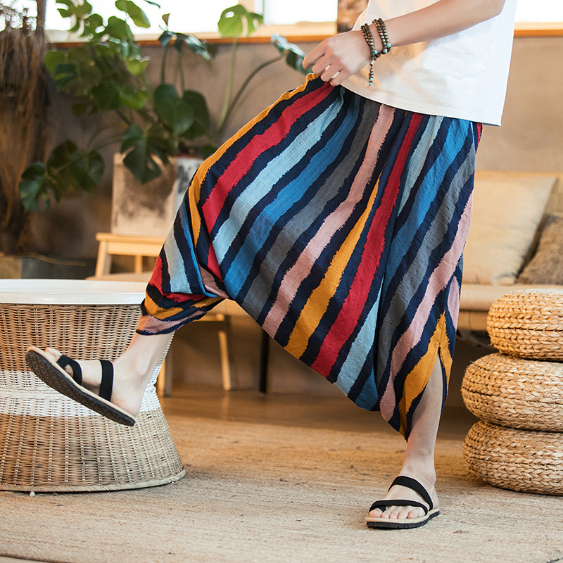 Large Size Chinese-style Men'S Wear hanging Crotch Baggy Pants Loose Pants Back Rise Width Trousers With Drawstring Money 3 Pon