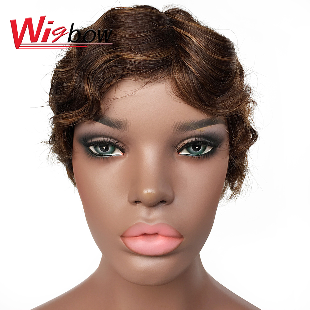 Wigbow Short Curly Wigs Peruvian Hair 100% Human Remy Hair Wigs For Black Women Shipping For Free 1B F4/30 P1/99J  Color