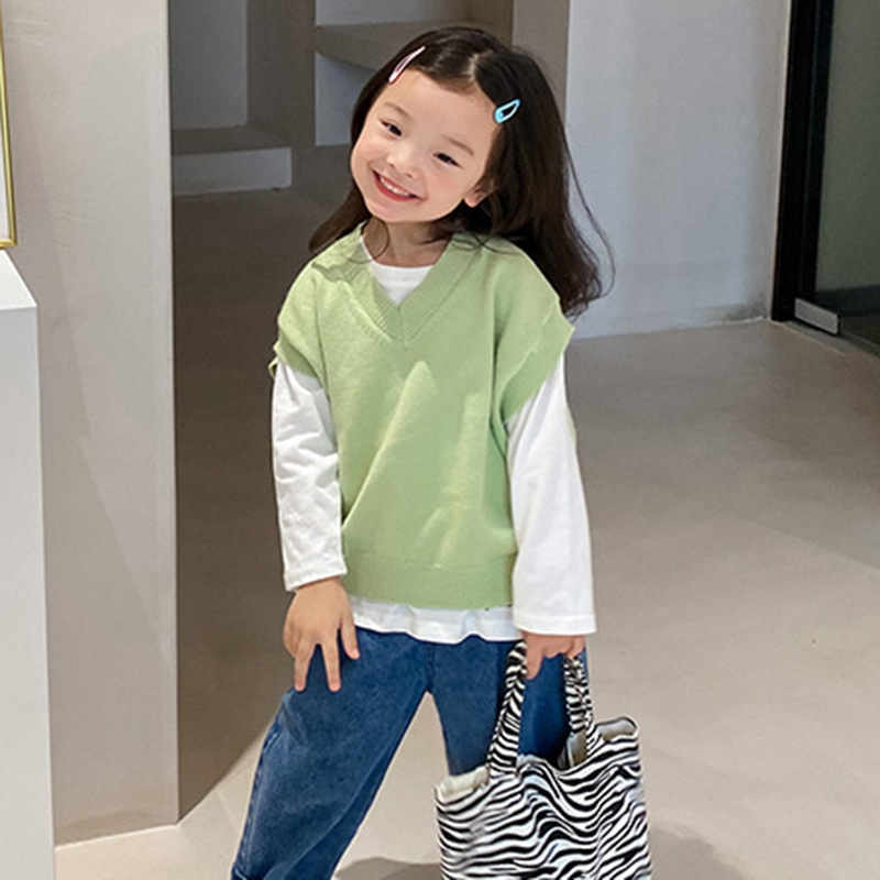 Children's Korean Style  Waistcoat for Boys And Girls with Rabbit Cashmere Core-spun Yarn Solid Color V-neck Vest Jacket