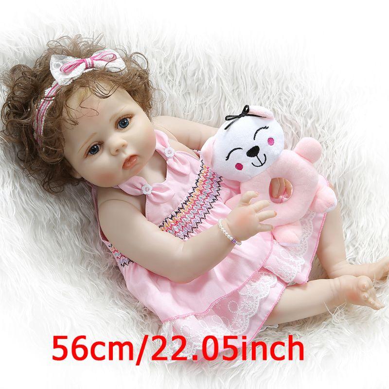 Capelli ricci ragazza bambola reborn 23 pieno silicone reborn baby dolls giocattoli per il regalo dei bambini bebe reborn menina bonecas morbida bambola BJD - 3