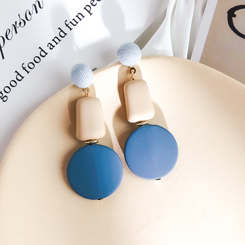 H7e834f0185704acab57e0ad4c4a68c5fO - New Arrival Metal Classic Round Women Dangle Earrings Korean Fashion Circle Geometric Earrings Sweet Small Jewelry