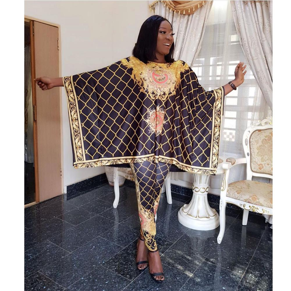 African Dashiki New Fashion Suit (Top and Trousers)Super Elastic Party Plus Size For Lady BFTZ03#