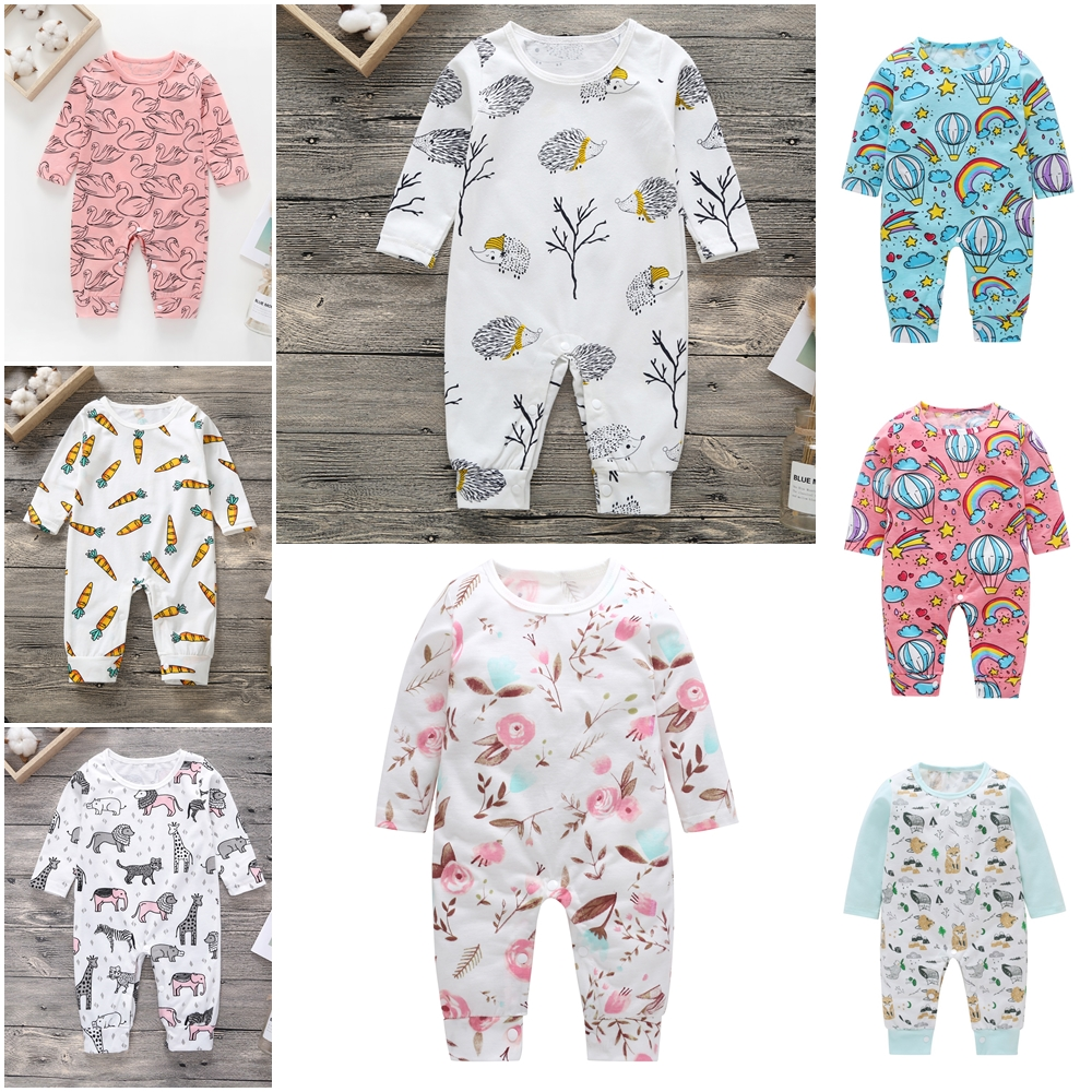 New Newborn <font><b>Baby</b></font> Clothes Boys Girls <font><b>Romper</b></font> Floral Dinosaur Car Printed Long Sleeve Cotton <font><b>Romper</b></font> Kids <font><b>Jumpsuit</b></font> Playsuit Outfits image