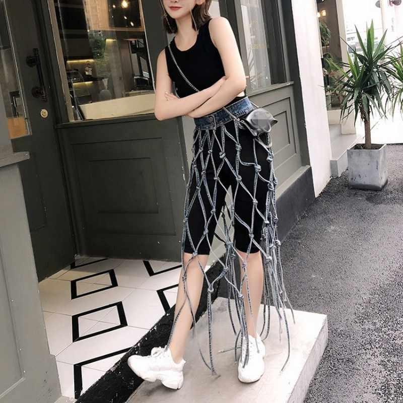 Hollow Out transparente juego de falda de tela vaquera mujeres sólido negro Casual rodilla longitud pantalones dos piezas conjunto Streetwear borla Falda larga