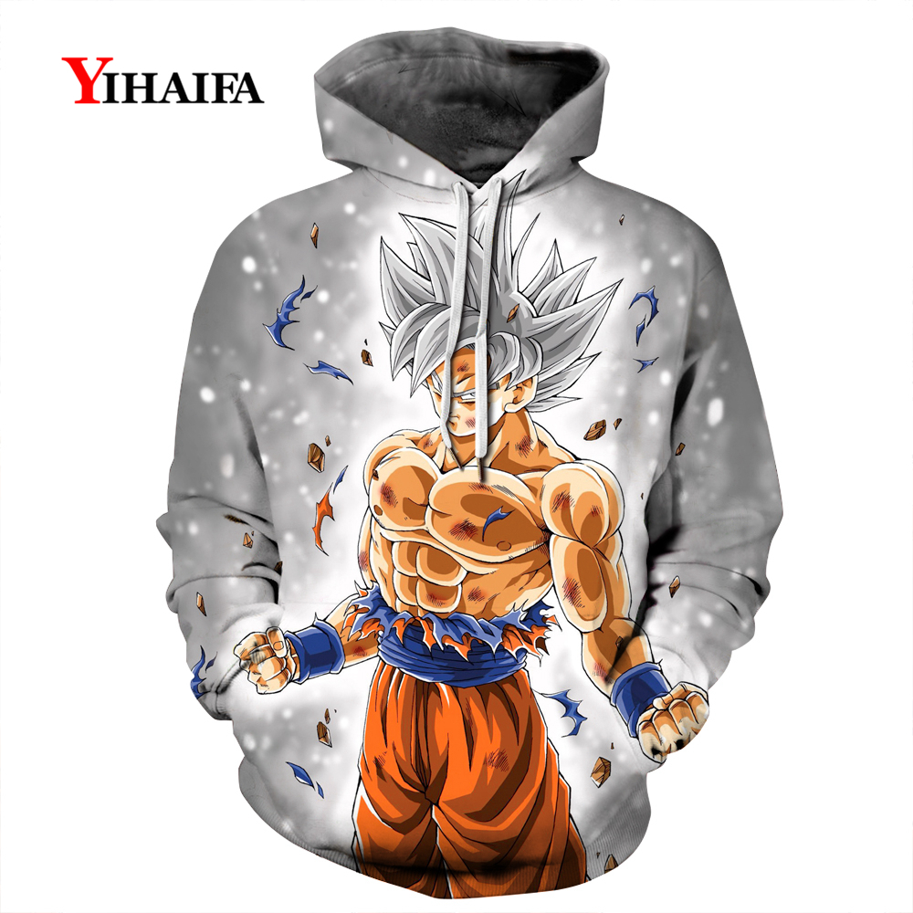 Mens Anime Hoodies Dragon Ball Z Pocket Hooded Sweatshirts Goku 3D Print Dbz Figure Man Long Sleeve Pullover Coat