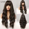 Парик Луи Ферре, черный, коричневый, блонд, парики с челкой, длинные, волнистые, вечерние, повседневные, синтетические парики для женщин, афро