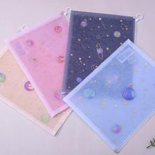 1PC Kawaii Creative Starry Sky A4 PP Fabric File Folder Bag Document Paper Organizer Storage Bags School Office Stationery